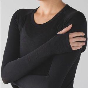 Black Lululemon Swiftly Tech Long Sleeve Crew Shirt 12 EUC